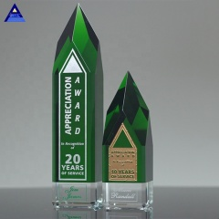 New Style Top Quality K9 Custom Obelisk Award Green Crystal Trophy For Souvenir