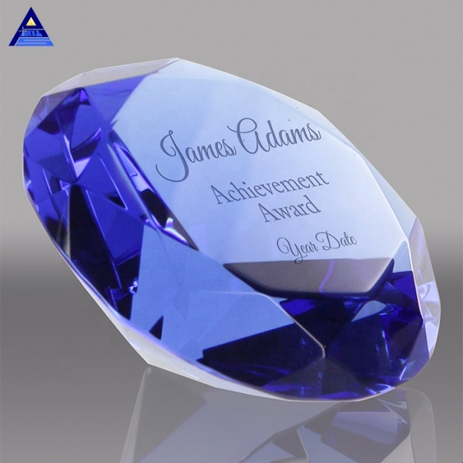 Faceted Decoration Large Crystal Glass Wedding Souvenir Crystal Diamond With Nice Box