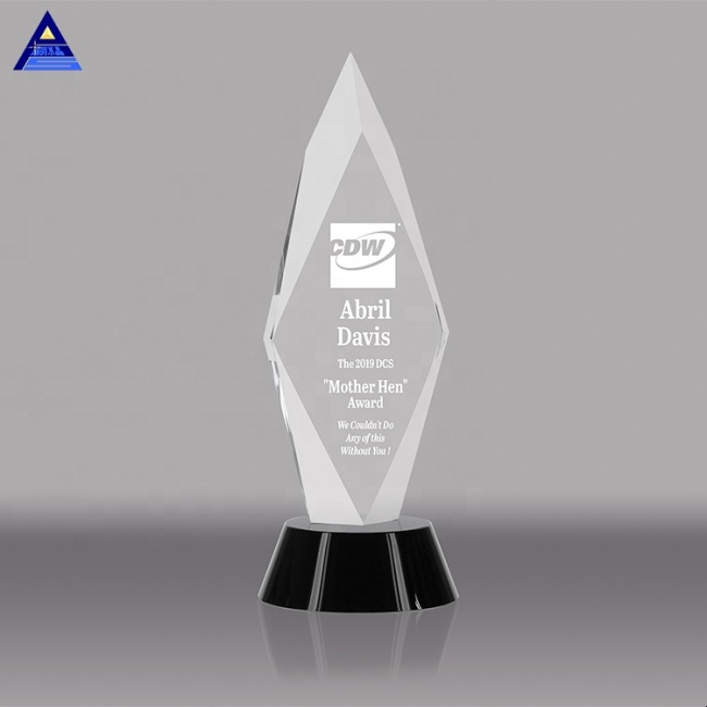 Custom Clear Shaped Crystal Glass Trophy For Business Awards