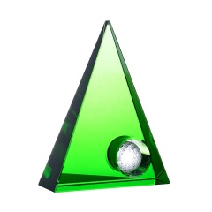 Optical Genuine Crystal Golf Ball Award Trophy Free Engraving Green Glass Crystal