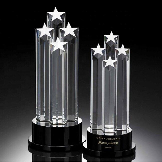 Wholesale cheap custom pentagram star crystal obelisk trophy Ice peak crystal glass awards
