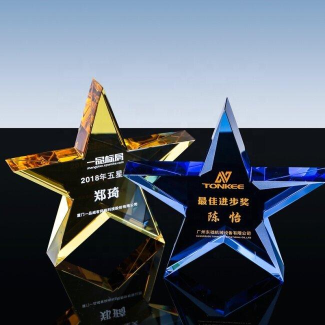 Fashion Star Shape Design Crystal Glass Trophy award Crystal Star block paperweight