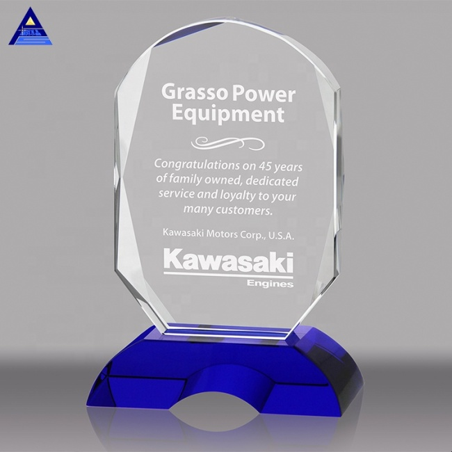 Best quality engraving laser crystal glass awards trophies for souvenirs