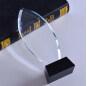 High Quality K9 Blank Block Glass Leaf Shape Oval Crystal Award Trophy With Black Base