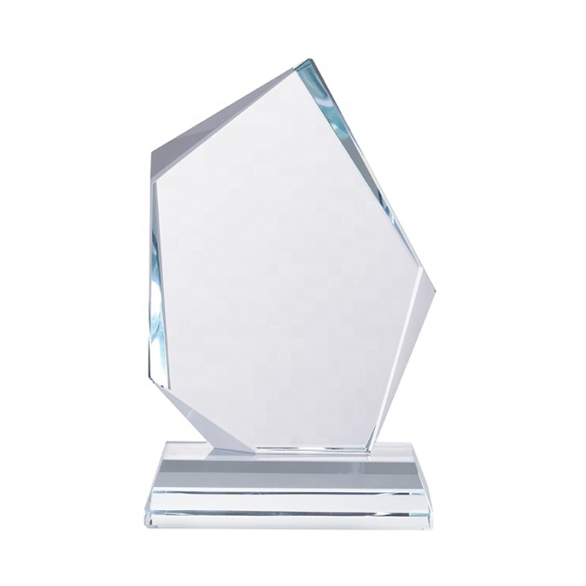 Wholesale Promotion Clear Optical Arch Blank Shield Crystal Awards Glass Trophy With Base