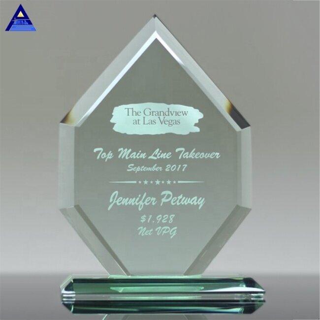Customised New Liberty Diamond Jade Crystal Glass Trophy