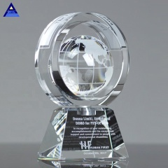 Wholesale Factory Price In-Motion Crystal Glass Global Shape Ring Trophy