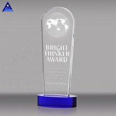 Cheap Custom Rectangle Crystal World Globe Award And Trophy