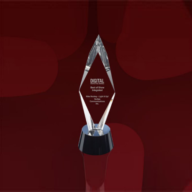 Engravable Blank Glass Crystal Diamond Shape Award Trophy With Customized Logo