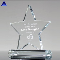 New Design Factory Wholesale Clear Star Jade Glass Crystal Award Trophy For Corporate