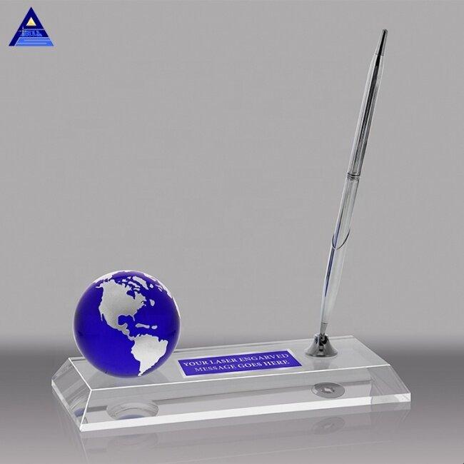 Custom Crystal Glass Mini Earth World Globe Trophy Award