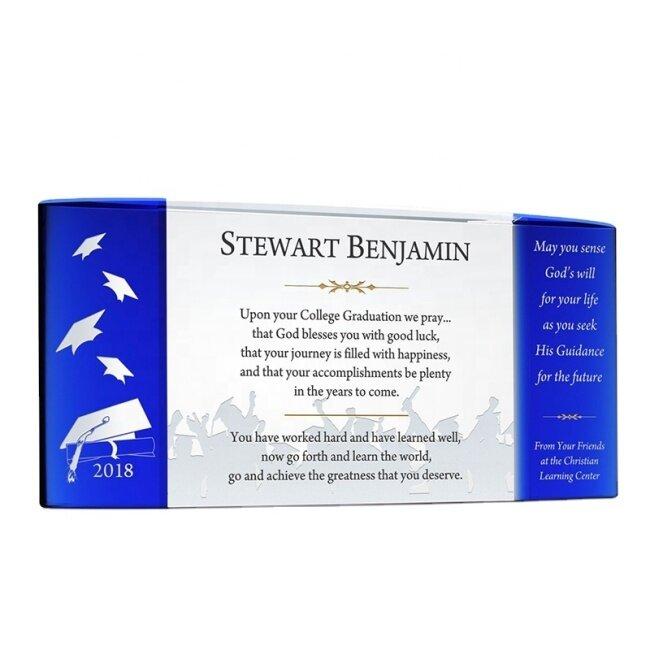 Blue Black Engraving Glass Blank Award Trophy Crystal Block Plaque