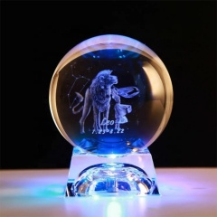 Cheap Beautiful Pattern 3d Laser 80mm 100mm Globe K9 Glass Solar Crystals Dragon Balls with crystal base For Home Decor
