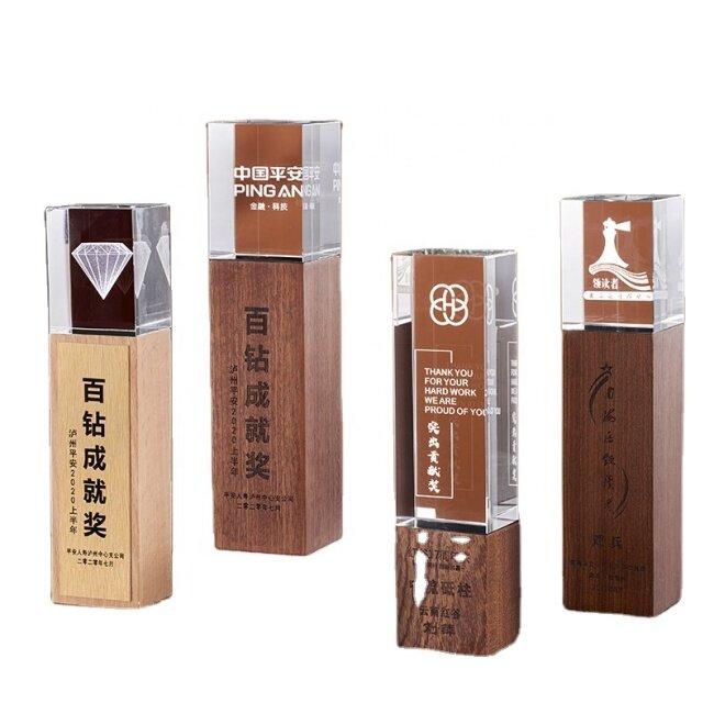 New design high quality Custom Laser Engraving Crystal Block Award wooden crystal trophy