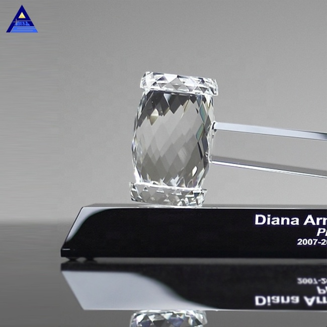 Personalized Crystal Faceted Gavel Award Trophy With Black Stand for Government Anniversary Gifts