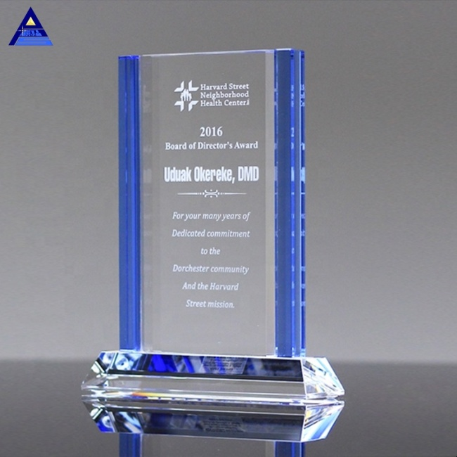 Sentinel Blue Crystal Engraved Plaque Awards for Business Promotional Gifts