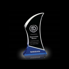 Cheap Custom Blank Crystal Trophy and Medal Color Crystal Glass Trophy Pujiang Wholesale