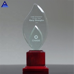 Creative Design Double Flame Medals Glass Shield Award Crystal Trophy In Dubai