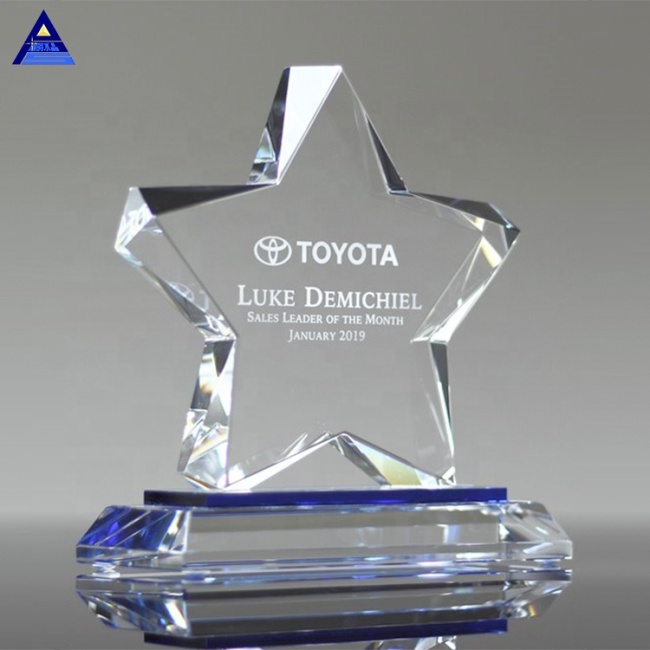 Folk Art Star Shaped Crystal Trophy Corporate Awards Gift With Logo Engraving