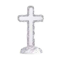 High Grade Clear Crystal Glass Standing Cross Religious Awards Crystal Cross Awards
