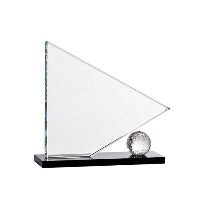 High Quality Triangle Shape K9 Crystal Golf Award For Personalized Engraving