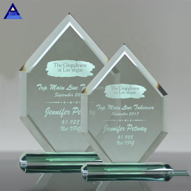 Wholesale Cheap Gift Engraved Plaques Liberty Diamond Jade Glass Award