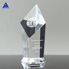 Elegant Clear Obelisk Shape Luxury Crystal Glass Award Trophy Crystal Shield Gift For Competition Awards