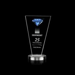Wholesale Hot Selling Custom Fashion Blue Diamond Stereo Blue Crystal Trophy Award