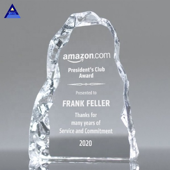 New Wholesale Cheap Custom Iceberg 2D 3D Crystal Award For Engraved