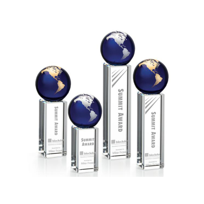 Luz Globe Award - Blue  Globe Commemorative Glass Crystal Ball Awards And custom Trophies