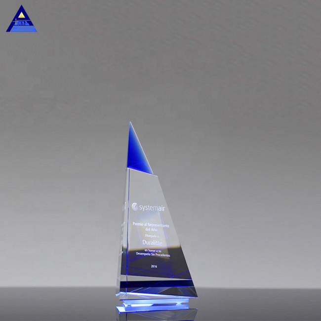 Tourist Souvenir Small Religious Cheap Indigo Peak Award Trophy Crystal Gifts