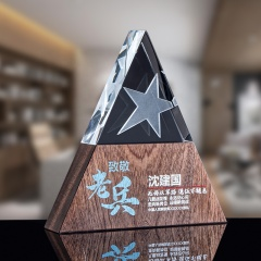 New Design Customize Triangle Shape Trophies Marble Plaque Wooden Crystal Trophy Award