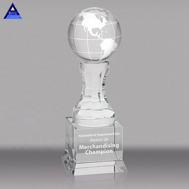 Custom Logo Engraving Crystal Globe Trophy Awards