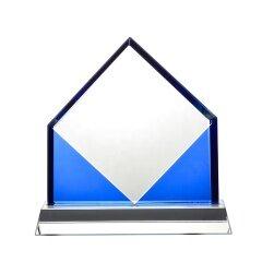 Wholesale Cutting Edge Diamond Unique Shape Elegant Crystal Trophy With Base