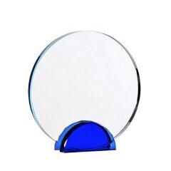 Modern Design Color Transparent Round Shape Crystal Blank Trophy For Office Gift