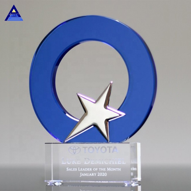 Manufacturer Supply Excellent Quality Customize Logo Star Shaped Cheap Crystal Trophy