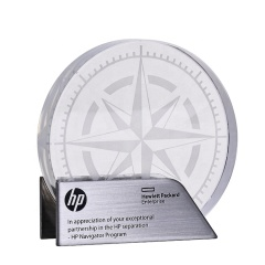 Many Years Factory Custom 3D Laser Engrave Blank Compass Shape Crystal Award trophy