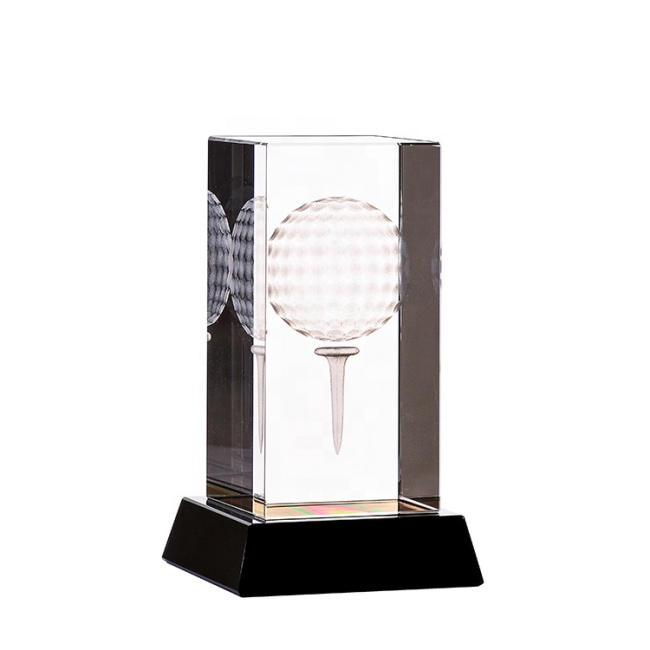 3D Laser Engraving Glass Block Glory Crystal Award Trophy With Golf Ball