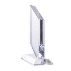 Engravable Blank Glass Crystal Quadrilateral Shape Award Trophy With Customized Logo