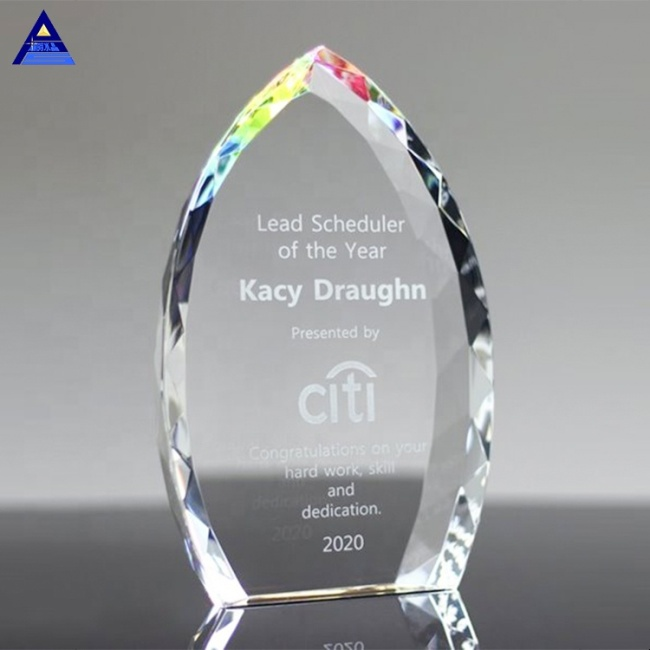 Rainbow Jeweled Crystal Clear Flame Awards For Recognize Souvenir