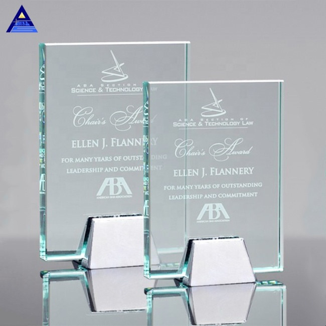 Hot Sale Clear Crystal Glass Jade Award Business Gift With Logo