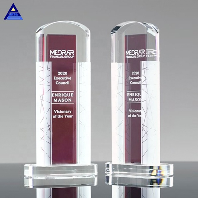 High Quality Cheap Custom Ambient Clear And Personalized Engraving Red Crystal Award Trophy With Base