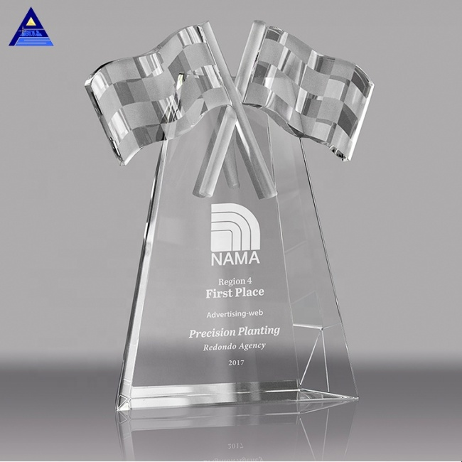 Customized Engraving Logo Flag Shaped Engraved Crystal Award Trophy With Special Significance
