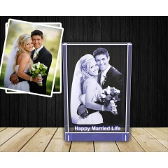 3D Crystal Photo 3D Crystal Picture Cube Hand Cut Personalized with Custom Engraving With LED Base Engraved Crystal