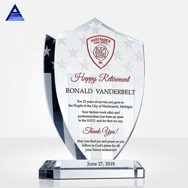 Wholesale New Design Optical K9 Blank Crystal Glass Trophy Personality Custom Shield Crystal Award Trophies