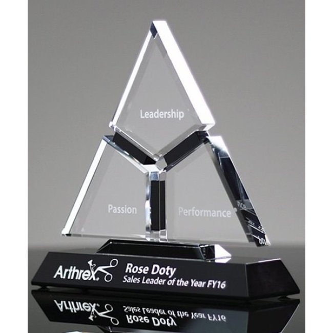 New Customized Business Gift Cutting Triangle Crystal Anniversary Trophy Awards