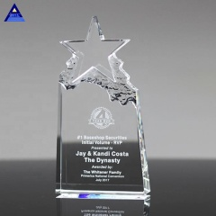 Wholesale Cheap Custom Design Star Crystal Trophies And Awards With Engraved Logo