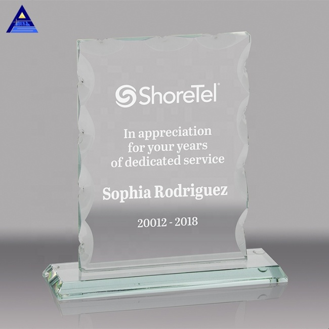 Custom Square Glass Trophy Authorization Crystal Glass Award Plaque With Company Name