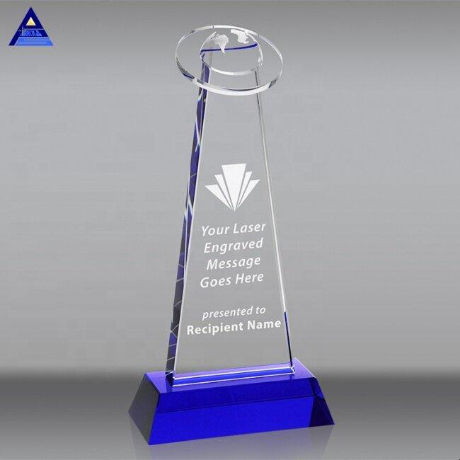 New Design Business Souvenir Gifts Blue Half Globe Award Crystal Trophy
