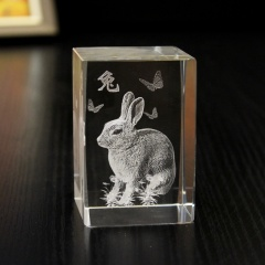 Crystal 3d Laser Engraved Cube/Crystal Paperweight Rectangle Crystal Cube